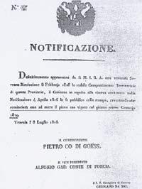 Il Decreto di ripartizione territoriale del 1818, che avrà pieno vigore dal 1819